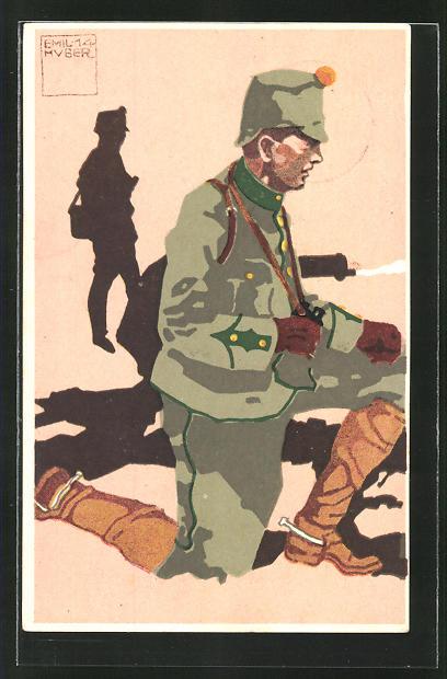 Künstler-AK sign. Emil Huber: 2. schweizer Infanterie-Mitrailleure Lieutnant in Uniform 0