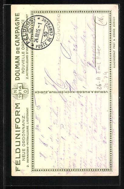 Künstler-AK sign. Emil Huber: 2. schweizer Infanterie-Mitrailleure Lieutnant in Uniform 1