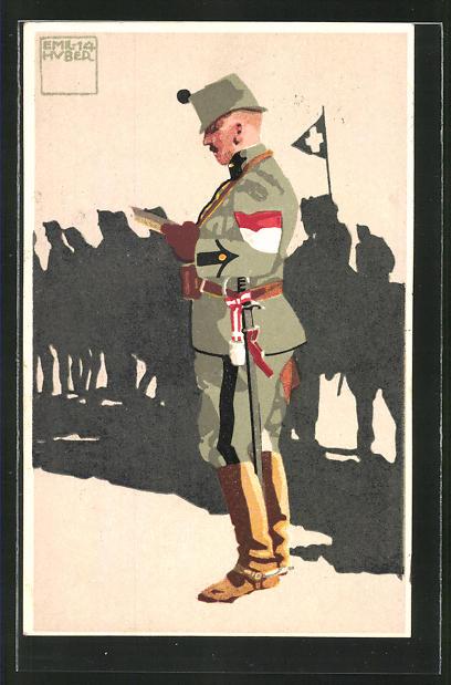 Künstler-AK sign. Emil Huber: 4. schweizer Major im Generalstab in Uniform