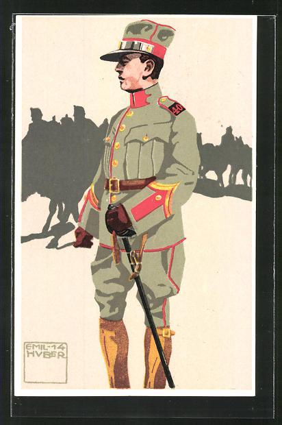 Künstler-AK sign. Emil Huber: 10. schweizer Feldartillerie, Offiziers-Aspirant, Wachtmeister