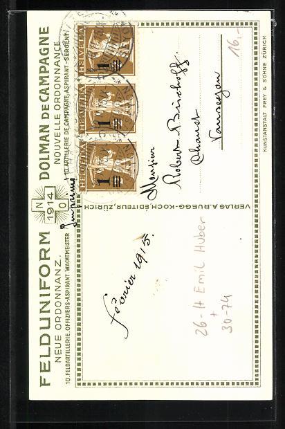 Künstler-AK sign. Emil Huber: 10. schweizer Feldartillerie, Offiziers-Aspirant, Wachtmeister 1