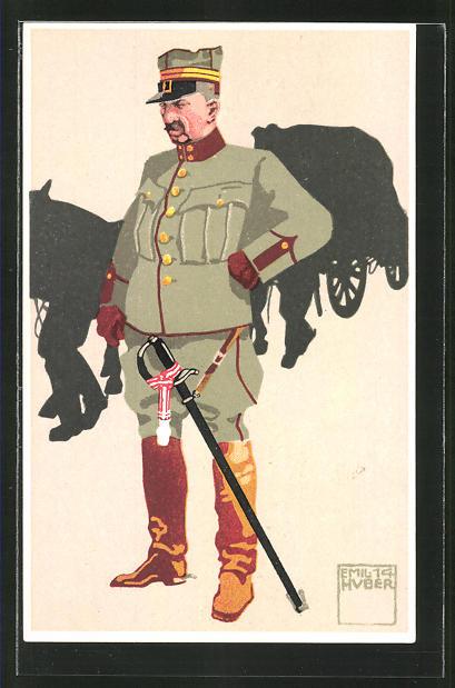 Künstler-AK sign. Emil Huber: 5. schweizer Train., Oberst-Lieutnant