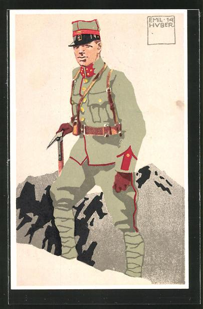 Künstler-AK sign. Emil Huber: 3. schweizer Festungsartillerie St. Gotthard Hauptmann