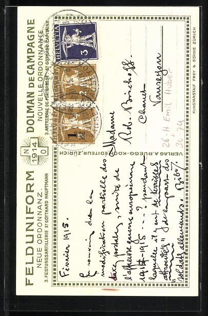 Künstler-AK sign. Emil Huber: 3. schweizer Festungsartillerie St. Gotthard Hauptmann 1