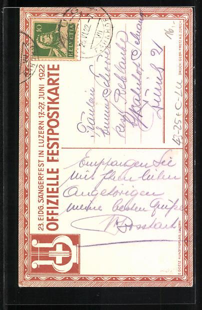 AK Luzern, Eidgenössiches Sängerfest 17.-27. Juni 1922, Harfe mit Efeu 1