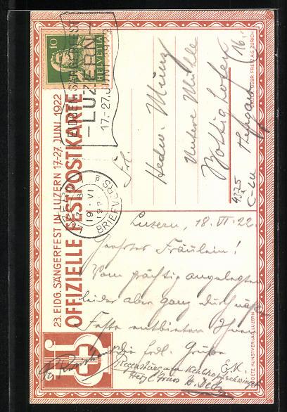 AK Luzern, 24. Eidgenössisches Sängerfest 17.-27. Juni 1922, Harfe mit Efeu 1