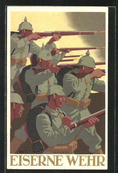 Künstler-AK W.I.: Soldaten mit angelegtem Gewehr im Gefecht, Eiserne Wehr 0
