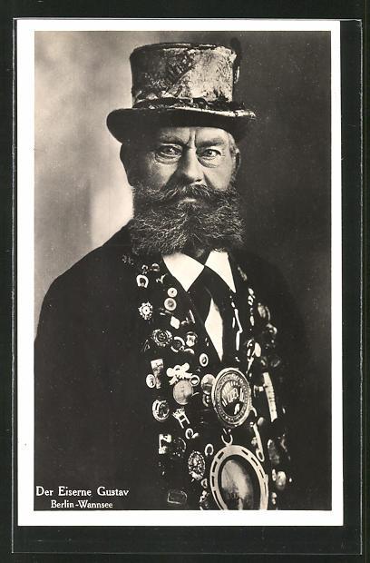 AK Berlin, der Eiserne Gustav mit dichtem Vollbart und Hut