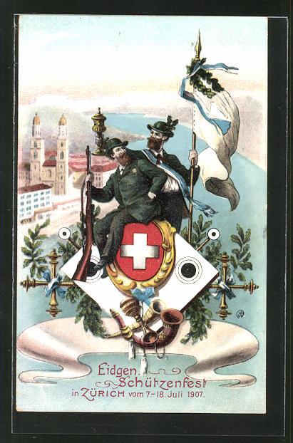 AK Zürich, Eidgen. Schützenfest 7.-18. Juli 1907, zwei Männer in Tracht und mit Gewehren 0