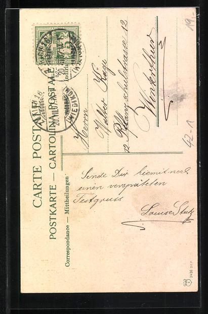 AK Zürich, Eidgen. Schützenfest 7.-18. Juli 1907, zwei Männer in Tracht und mit Gewehren 1