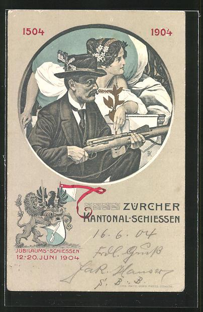AK Zürich, Kanontal-Schiessen 12.-20. Juni 1904, Mann mit Gewehr und Drau in weissem Kleid im Hintergrund 0