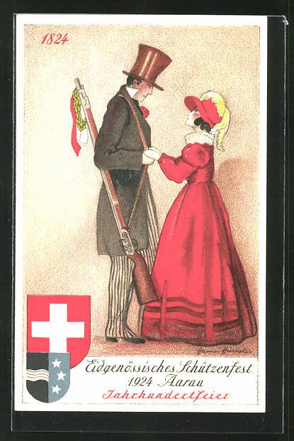 AK Aarau, eidg. Schützenfest 1924, Jahrhundertfeier, Mann mit Gewehr und Frau in rotem Kleid halten ihre Hände