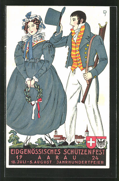AK Aarau, eidg. Schützenfest 18.7.-5.8. 1924, Jahrhundertfeier, Mann mit geschultertem Gewehr und Frau in blauem Kleid 0