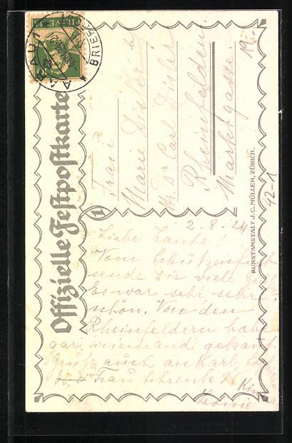 AK Aarau, eidg. Schützenfest 18.7.-5.8. 1924, Jahrhundertfeier, Mann mit geschultertem Gewehr und Frau in blauem Kleid 1