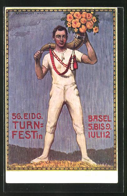AK Basel, 56. eidg. Turnfest 5.-9. Juli 1912, junger Mann in Sportkleidung schultert Horn mit Blumen 0
