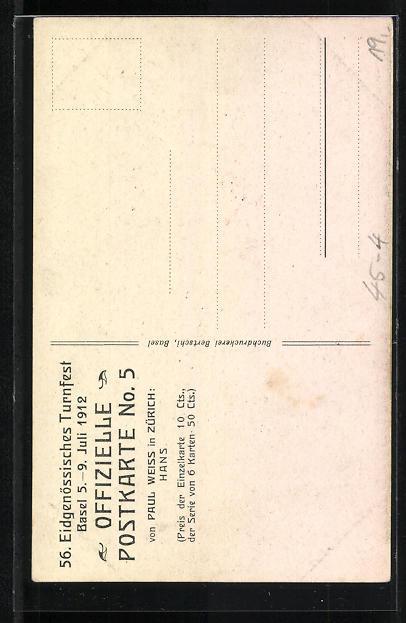 AK Basel, 56. eidg. Turnfest 5.-9. Juli 1912, junger Mann in Sportkleidung schultert Horn mit Blumen 1