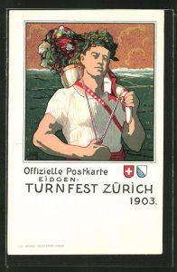 AK Zürich, eidg. Turnfest 1903, muskulöser Sportler mit Lorbeerkranz schultert Horn mit Blumen