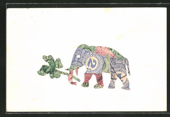 AK Elefant aus einer Briefmarkencollage 0