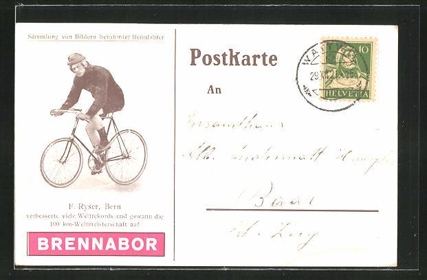AK Radsport, F. Ryser aus Bern auf seinem Fahrrad 0