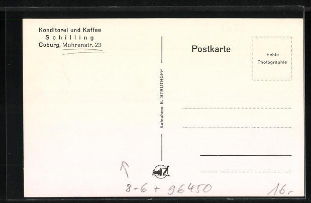 AK Coburg, Innenraum der Konditorei und Kaffee Schilling, Mohrenstrasse 23 1