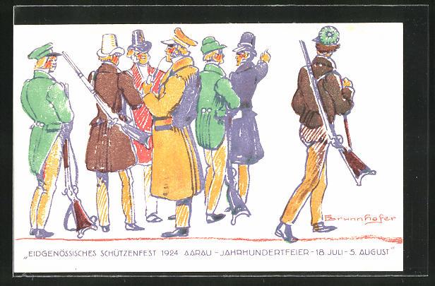 AK Aarau, eidg. Schützenfest 18.7. - 5.8.1924, Jahrhundertfeier, Männer in Mänteln mit geschulterten Gewehren 0