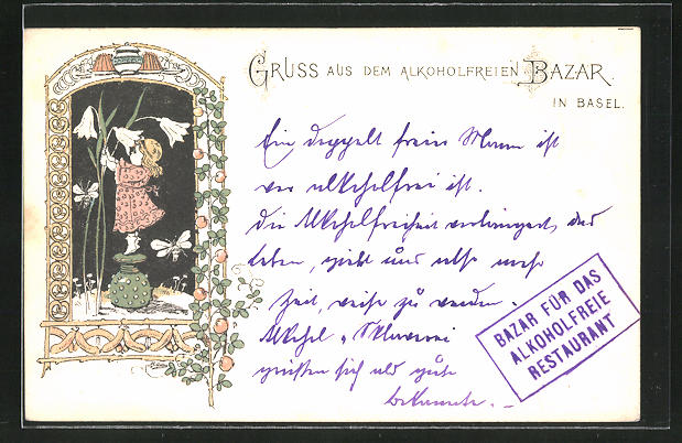 AK Basel, kleines Mädchen mit grossen Blumen, Bazar für das alkoholfreie Restaurant 0