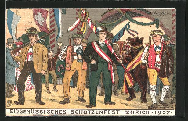 AK Zürich, eidg. Schützefest 1907, Männer in Trachten und mit geschulterten Gewehren
