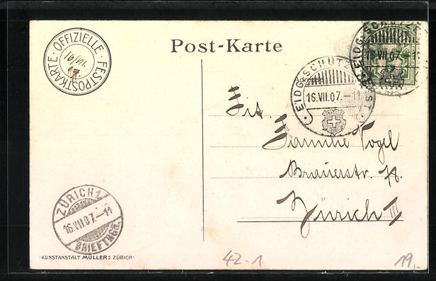 AK Zürich, eidg. Schützefest 1907, Männer in Trachten und mit geschulterten Gewehren 1