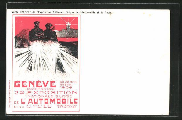 AK Genève, Exposition Nazionale Suisse l'Automobile et du Cycle 1906, Auto mit Scheinwerfern 0