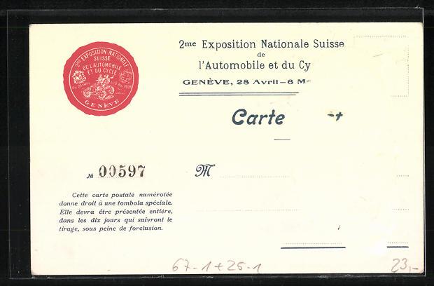 AK Genève, Exposition Nazionale Suisse l'Automobile et du Cycle 1906, Auto mit Scheinwerfern 1