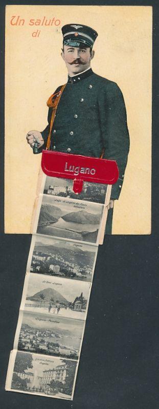 Leporello-AK Lugano, Briefträger mit Ansichten in der Brieftasche, Giardino Publicco, Le Quai, Gandria 0