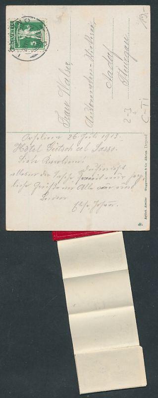 Leporello-AK Lugano, Briefträger mit Ansichten in der Brieftasche, Giardino Publicco, Le Quai, Gandria 1