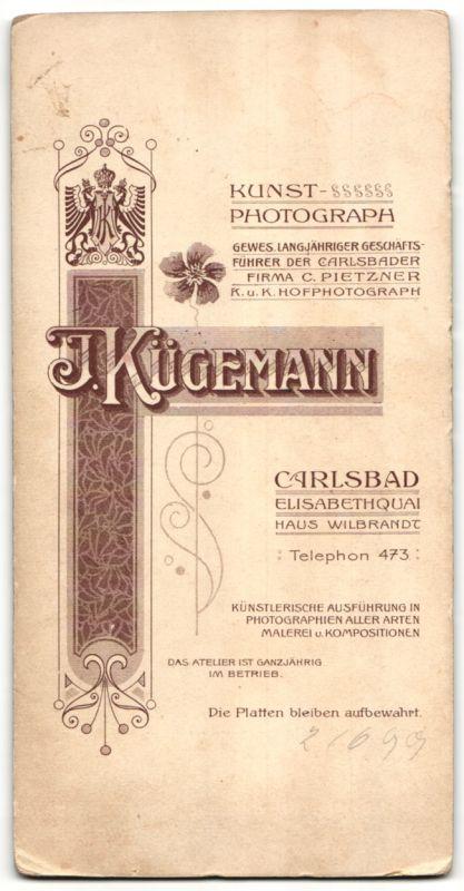 Fotografie I. Kügemann, Carlsbad, Edelmann mit Schnauzbart im Anzug 1