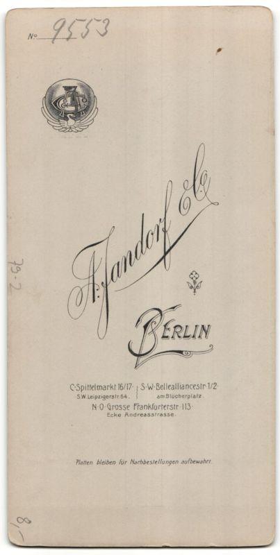 Fotografie A. Jandorf & Co., Berlin, Hausfrau mit Buch im Atelier 1