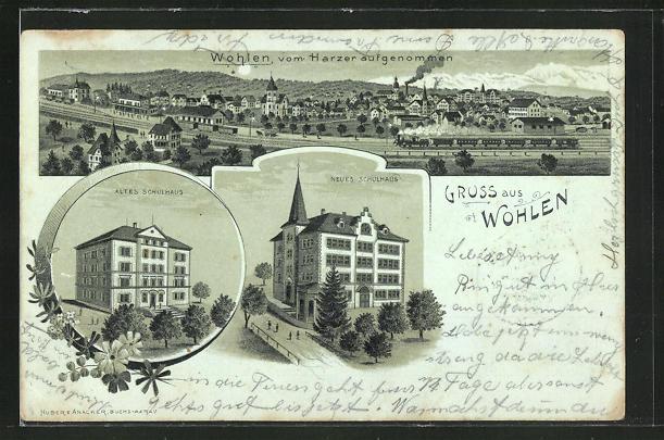 Mondschein-Lithographie Wohlen, Altes und neues Schulhaus, Panoramablick auf den Ort 0