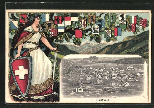 Passepartout-Lithographie Huttwil, Blick auf das Dorf, Helvetia und Wappen der Kantone 0