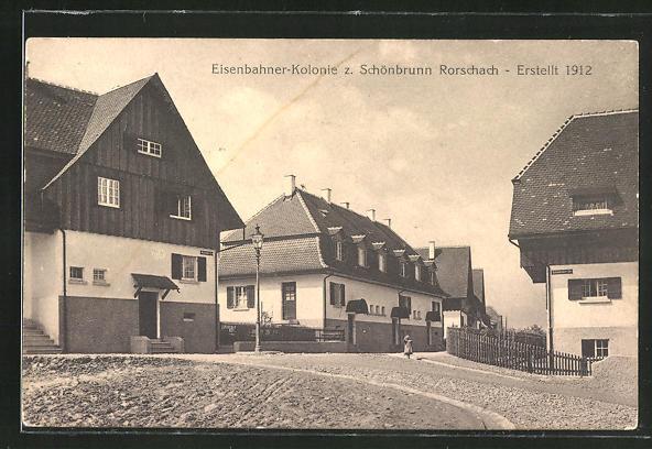 AK Schönbrunn-Rorschach, Strasse in der Eisenbahner-Kolonie 0