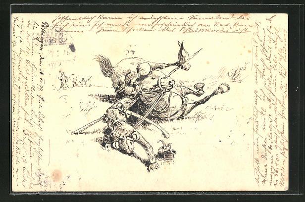 Künstler-AK Handgemalt: Kavallerist der Befreiungskriege wurde vom Pferd geschossen