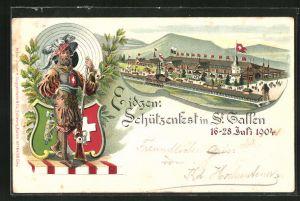 Lithographie St. Gallen, Schützenfest 1904, Festhalle