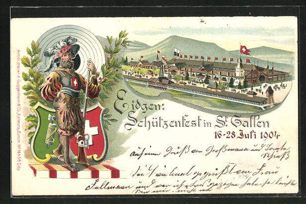 Lithographie St. Gallen, Schützenfest 1904, Festhalle, Schütze mit Muskete 0