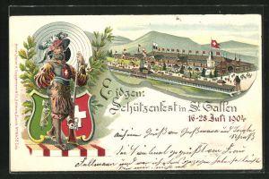 Lithographie St. Gallen, Schützenfest 1904, Festhalle, Schütze mit Muskete