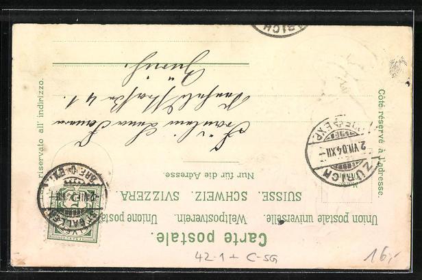 Lithographie St. Gallen, Schützenfest 1904, Festhalle, Schütze mit Muskete 1