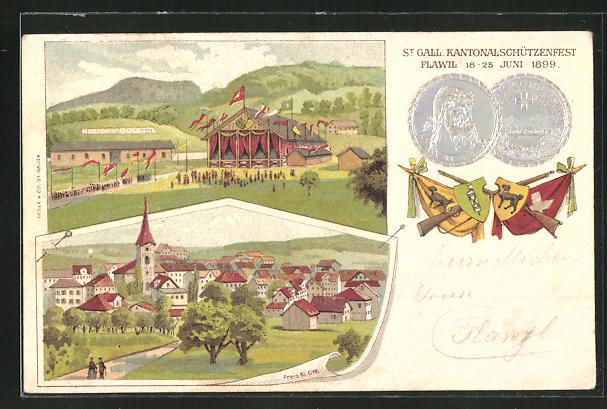 Lithographie Flawil, St. Galler Kantonalschützenfest 1899, Festplatz, Ortsansicht 0