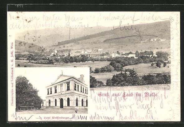 AK Laab im Walde, Ansicht vom Hotel Weissenberger, Ortsansicht mit Umgebung 0