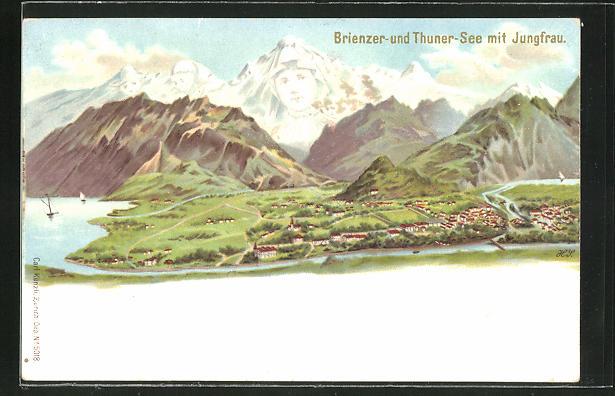 Lithographie Künzli Nr. 5018, Brienzer und Thuner-See mit Jungfrau, Berg mit Gesicht / Berggesicht, Berggesichter 0
