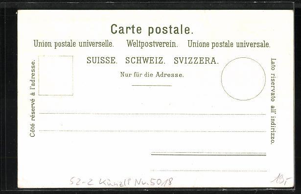 Lithographie Künzli Nr. 5018, Brienzer und Thuner-See mit Jungfrau, Berg mit Gesicht / Berggesicht, Berggesichter 1