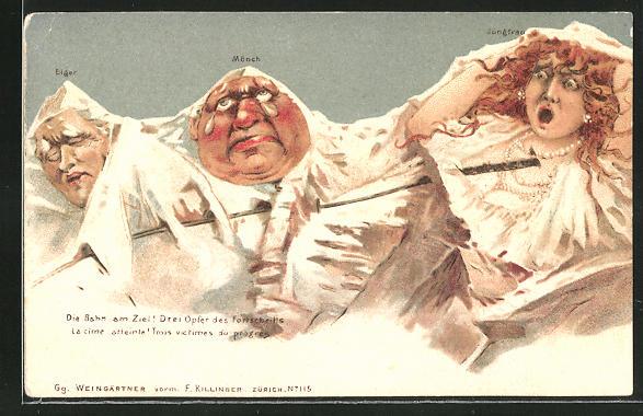 Lithographie Killinger Nr. 115, Die Bahn am Ziel!..., Eiger, Mönch, Jungfrau, Berge mit Gesicht / Berggesichter 0