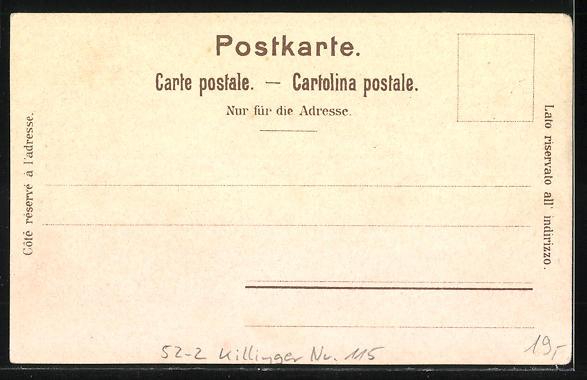 Lithographie Killinger Nr. 115, Die Bahn am Ziel!..., Eiger, Mönch, Jungfrau, Berge mit Gesicht / Berggesichter 1
