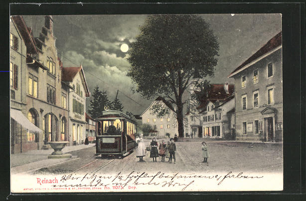 AK Reinach, Strassenbahn bei Vollmond 0