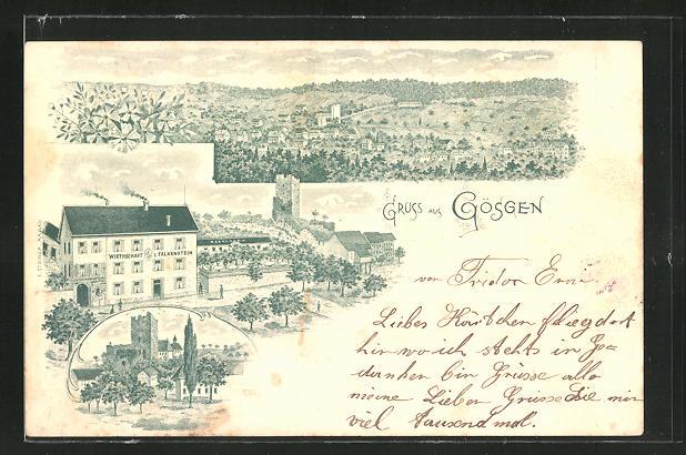 Lithographie Gösgen, Wirtschaft zum Falkenstein 0